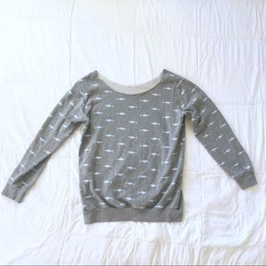Sweaters - Shark Print Off the Shoulder Slouch Sweater